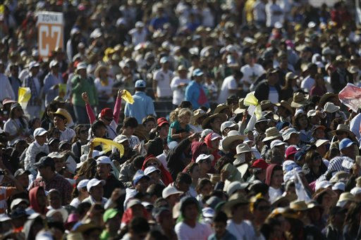 Pilgrims wait for the arrival of Pope Benedict XVI for Mass in Bicentennial Park near Silao, Mexico, Sunday March 25, 2012. &#40;AP Photo&#47;Eduardo Verdugo&#41; <span class=meta>(AP Photo&#47; Eduardo Verdugo)</span>