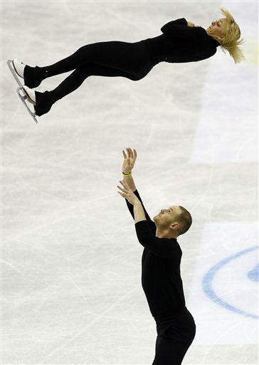 Caydee Denney and John Coughlin of the U.S. perform their routine during the Pairs preliminary round of the ISU World Figure Skating Championships in Nice, southern France, Monday, March 26, 2012. &#40;AP Photo&#47; Francois Mori&#41; <span class=meta>(AP Photo&#47; Francois Mori)</span>