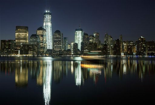 One World Trade Center towers above the Lower Manhattan skyline and Hudson River, Monday, March 26, 2012, in New York. The tower, now up to 93 floors, will reach 104 floors and is scheduled for completion in 2013. &#40;AP Photo&#47;Mark Lennihan&#41; <span class=meta>(AP Photo&#47; Mark Lennihan)</span>