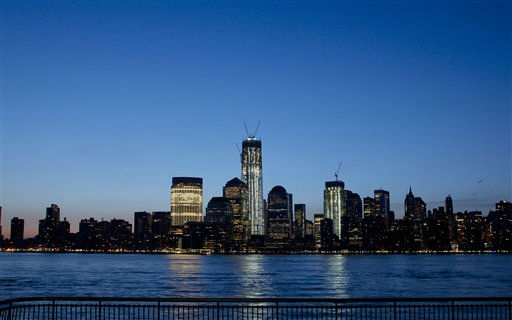 "<div class=""meta ""><span class=""caption-text "">One World Trade Center towers above the Lower Manhattan skyline and Hudson River, Monday, March 26, 2012, in New York. The tower, now up to 93 floors, will reach 104 floors and is scheduled for completion in 2013. (AP Photo/Mark Lennihan) (AP Photo/ Mark Lennihan)</span></div>"