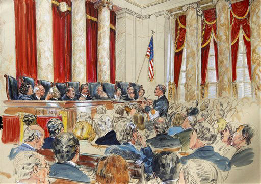This artist rendering shows Solicitor General Donald B. Verrilli, Jr. speaking in front of the Supreme Court justices in Washington, Monday, March 26, 2012, as the court began three days of arguments on the health care law signed by President Barack Obama. Justices, seated from left are, Sonia Sotomayor, Stephen Breyer, Clarence Thomas, Antonin Scalia, Chief Justice John Roberts, Anthony Kennedy, Ruth Bader Ginsburg Samuel Alito and Elana Kagan. &#40;AP Photo&#47;Dana Verkouteren&#41; <span class=meta>(AP Photo&#47; Dana Verkouteren)</span>