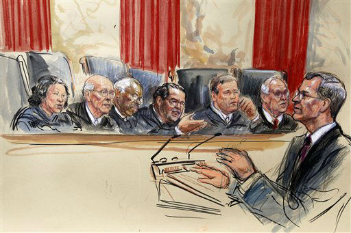 This artist rendering shows attorney Robert A. Long speaks in front of the Supreme Court Justice in Washington, Monday, March 26, 2012, as the court began three days of arguments on the health care law signed by President Barack Obama. Justices seated, from left are, Sonia Sotomayor, Stephen Breyer, Clarence Thomas, Antonin Scalia, Chief Justice John Roberts and Anthony Kennedy.  &#40;AP Photo&#47;Dana Verkouteren&#41; <span class=meta>(AP Photo&#47; Dana Verkouteren)</span>