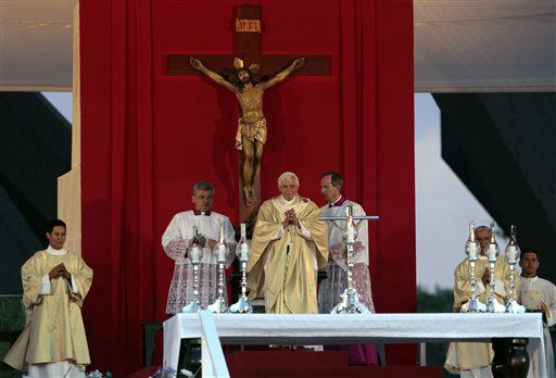 Pope Benedict XVI presides over a Mass at Revolution Square in Santiago de Cuba, Cuba, Monday, March 26, 2012. Pope Benedict XVI is in Cuba for a three-day visit. &#40;AP Photo&#47;Esteban Felix&#41; <span class=meta>(AP Photo&#47; Esteban Felix)</span>
