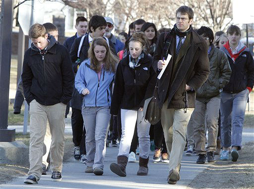 Students walk to a counseling session at St. Johnsbury Academy Tuesday, March 27, 2012 in St. Johnsbury, Vt. &#40;AP Photo&#47;Toby Talbot&#41; <span class=meta>(AP Photo&#47; Toby Talbot)</span>