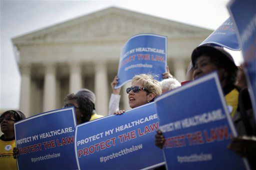 "<div class=""meta ""><span class=""caption-text "">FILE - In this March 28, 2012 file photo, supporters of health care reform rally in front of the Supreme Court in Washington on the final day of arguments regarding the health care law signed by President Barack Obama. Arguments in the Supreme Court failed to yield clear hints how the justices would rule on the question of whether President Barack Obama's health care overhaul would be left standing if the high court were to strike down the linchpin provision that all Americans must have health insurance.  (AP Photo/Charles Dharapak, File) (AP Photo/ Charles Dharapak)</span></div>"