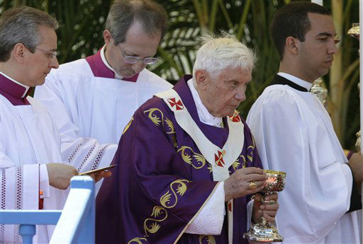 Pope Benedict XVI celebrates a Mass at the Revolution Square  in Havana, Cuba, Wednesday, March 28, 2012.  Pope Benedict XVI wraps up his visit to Cuba on Wednesday with an open-air Mass in the shrine of the Cuban revolution.&#40;AP Photo&#47;Gregorio Borgia&#41;&#40;AP Photo&#47;Javier Galeano&#41; <span class=meta>(AP Photo&#47; Javier Galeano)</span>