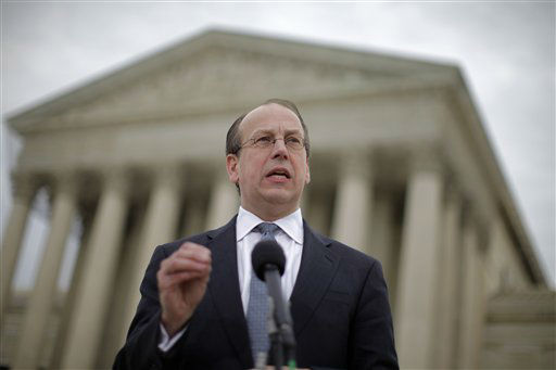 Paul Clement, a lawyer for 26 states seeking to have the Patient Protection and Affordable Care Act tossed out in its entirety, speaks to reporters in front of the Supreme Court in Washington, Wednesday, March 28, 2012, at the end of arguments regarding the health care law signed by President Barack Obama. &#40;AP Photo&#47;Charles Dharapak&#41; <span class=meta>(AP Photo&#47; Charles Dharapak)</span>