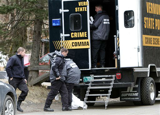 Vermont State Police crime scene investigators are seen at the home of Allen and Patricia Prue Wednesday, March 28, 2012 in Waterford, Vt. A snow plow driver and his wife are being charged in connection with the killing of a Vermont prep school teacher, who police say was strangled. Thirty-year-old Allen Prue of Waterford and his 33-year-old wife Patricia Prue are facing 2nd degree murder charges in connection with the killing of Melissa Jenkins. &#40;AP Photo&#47;Toby Talbot&#41; <span class=meta>(AP Photo&#47; Toby Talbot)</span>