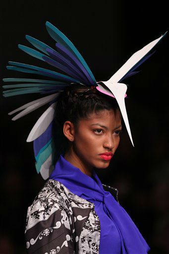 A model wears a creation by Mexico&#39;s designer Pineda Covalin at the Mercedes Benz Fashion show in Mexico City, Wednesday, March 28, 2012. &#40;AP Photo&#47;Alexandre Meneghini&#41; <span class=meta>(AP Photo&#47; Alexandre Meneghini)</span>