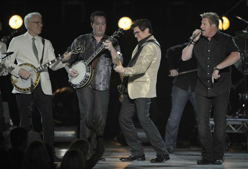 From left, Steve Martin, Travis Toy and musical group Rascal Flatts&#39; Jay Demarcus and Gary LeVox perform at the 47th Annual Academy of Country Music Awards on Sunday, April 1, 2012 in Las Vegas. &#40;AP Photo&#47;Mark J. Terrill&#41; <span class=meta>(AP Photo&#47; Mark J. Terrill)</span>