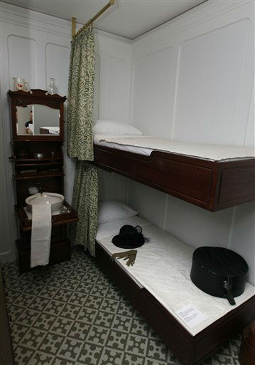 "<div class=""meta ""><span class=""caption-text "">A recreation of a second class cabin from the Titanic, at SeaCity Museum in Southampton, England,Tuesday, April 3, 2012. The new museum will open in the City of Southampton on April 10, 100 years after the ill fated Titanic sailed from the City's docks. (AP Photo/Kirsty Wigglesworth) (AP Photo/ Kirsty Wigglesworth)</span></div>"