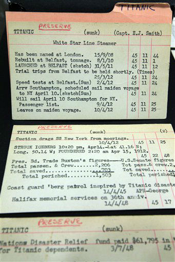 This Tuesday, April 3, 2012 photo shows index cards from The Associated Press Corporate Archive in New York listing stories written by the wire service about the Titanic. It was a news story that would change the news. From the moment that a brief Associated Press dispatch relayed the wireless distress call _ &#34;Titanic ... reported having struck an iceberg. The steamer said that immediate assistance was required&#34; _ reporters and editors scrambled. In ways that seem familiar today, they adapted a dawning newsgathering technology and organized saturation coverage and managed to cover what one authority calls &#34;the first really, truly international news event where anyone anywhere in the world could pick up a newspaper and read about it.&#34; &#40;AP Photo&#47;Frank Franklin II&#41; <span class=meta>(AP Photo&#47; Frank Franklin II)</span>