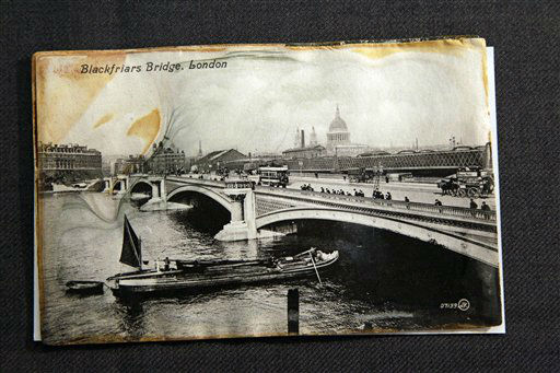 "<div class=""meta image-caption""><div class=""origin-logo origin-image ""><span></span></div><span class=""caption-text"">A postcard belonging to Edgar Samuel a second class passenger from the RMS Titanic Inc., is on display at Guernsey's Auctioneers & Brokers,  Wednesday, April 4, 2012 in New York.   The auction of more than 5,000 Titanic artifacts a century after the luxury liner's sinking has stirred hundreds of interested calls, with some offering to add to the dazzling trove already plucked from the ocean floor.(AP Photo/Mary Altaffer) (AP Photo/ Mary Altaffer)</span></div>"