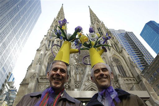 Michael Nardi, left, and Eugene Lefkowitz pose for photographers in front of St. Patrick&#39;s Cathedral during the Easter Parade Fifth Ave., Sunday, April 8, 2012 in New York.  &#40;AP Photo&#47;Mary Altaffer&#41; <span class=meta>(AP Photo&#47; Mary Altaffer)</span>