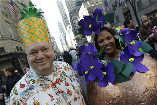 Eddie, left, and Pata Llano, of Manhattan pose for photographers during the Easter Parade Fifth Ave.,  Sunday, April 8, 2012 in New York.  &#40;AP Photo&#47;Mary Altaffer&#41; <span class=meta>(AP Photo&#47; Mary Altaffer)</span>