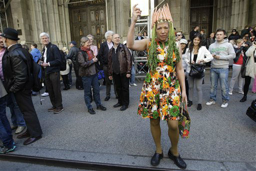 "<div class=""meta ""><span class=""caption-text "">Maja Kluver, of Brooklyn is dressed up as Carrotcher during the Easter Parade on Fifth Ave.,  Sunday, April 8, 2012 in New York.  (AP Photo/Mary Altaffer) (AP Photo/ Mary Altaffer)</span></div>"