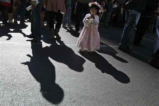 Madeleine Manlangit, 2, of Queens, holds on to her easter bunny during the Easter Parade on Fifth Ave.,  Sunday, April 8, 2012 in New York.  &#40;AP Photo&#47;Mary Altaffer&#41; <span class=meta>(AP Photo&#47; Mary Altaffer)</span>