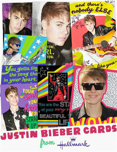 Hallmark Justin Bieber greeting cards are now available at Wal-Mart, and will be available at Hallmark Gold Crown stores and everywhere Hallmark products are sold in May. (PRNewsFoto/Hallmark) THIS CONTENT IS PROVIDED BY PRNewsfoto and is for EDITORIAL USE ONLY**