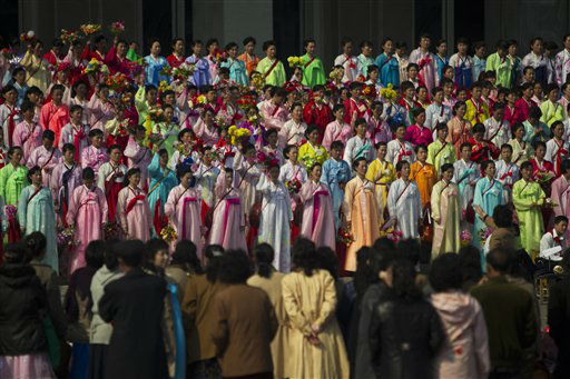 A North Korean choir performs on the steps of a public building in Pyongyang, North Korea Wednesday, April 11, 2012. &#40;AP Photo&#47;David Guttenfelder&#41; <span class=meta>(AP Photo&#47; David Guttenfelder)</span>