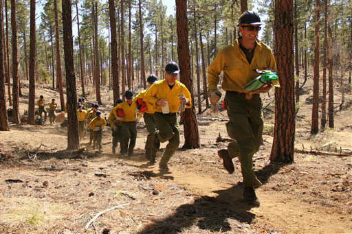In this 2012 photo provided by the Cronkite News, members of the Granite Mountain Hotshots run during training on the use of emergency fire shelters. On Sunday, June 30, 2013, 19 members of the Prescott, Ariz.-based crew were killed in the deadliest wildfire involving firefighters in the U.S. for at least 30 years. The firefighters were forced to deploy their emergency fire shelters - tent-like structures meant to shield firefighters from flames and heat - when they were caught near the central Arizona town of Yarnell, according to a state forestry spokesman. &#40;AP Photo&#47;Cronkite News, Connor Radnovich&#41; <span class=meta>(AP Photo&#47; Connor Radnovich)</span>