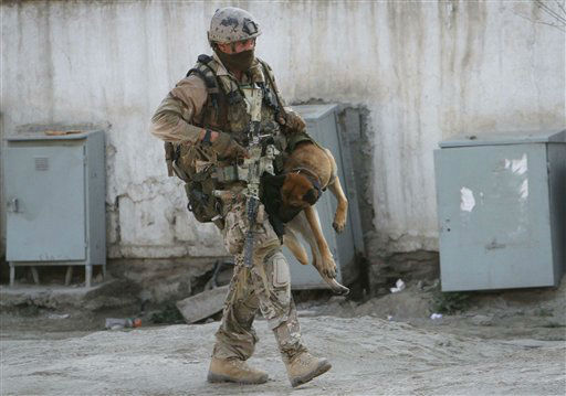 "<div class=""meta ""><span class=""caption-text "">A soldier, part of the NATO forces, carries a sniffing dog after a gun battle in Kabul, Afghanistan, Monday, April 16, 2012. A brazen, 18-hour Taliban attack on the Afghan capital ended early Monday when insurgents who had holed up overnight in two buildings were overcome by heavy gunfire from Afghan-led forces and pre-dawn air assaults from U.S.-led coalition helicopters. (AP Photo/Musadeq Sadeq)</span></div>"