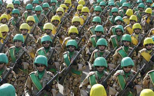 Iranian troops march during a military parade commemorating National Army Day in front of the mausoleum of the late revolutionary founder Ayatollah Khomeini, outside Tehran, Iran, Tuesday, April 17, 2012. &#40;AP Photo&#47;Vahid Salemi&#41; <span class=meta>(AP Photo&#47; Vahid Salemi)</span>
