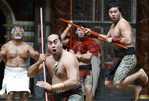 "<div class=""meta image-caption""><div class=""origin-logo origin-image ""><span></span></div><span class=""caption-text"">New Zealand's Ngakau Toa Theatre Company perform a traditional ceremonial 'haka' at The Globe Theatre  in London,  Monday, April 23, 2012. On Monday, Shakespeare's birthday, the Globe to Globe Festival, part of the World Shakespeare Festival started, with 37 international companies presenting 37 of Shakespeare's plays in 37 different languages. (AP Photo/Kirsty Wigglesworth) (AP Photo/ Kirsty Wigglesworth)</span></div>"