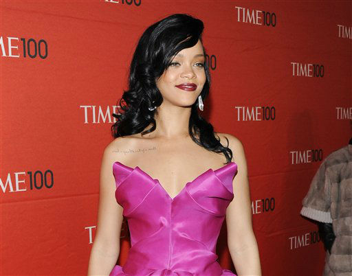 "<div class=""meta image-caption""><div class=""origin-logo origin-image ""><span></span></div><span class=""caption-text"">FILE - In this April 24, 2012 file photo, singer Rihanna attends the TIME 100 gala, celebrating the 100 most influential people in the world, at the Frederick P. Rose Hall in New York. (AP Photo/Evan Agostini, file) (AP Photo/ Evan Agostini)</span></div>"