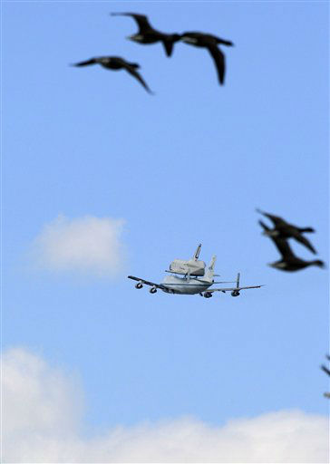 "<div class=""meta ""><span class=""caption-text "">Geese fly as the space?shuttle Enterprise, riding on the back of the NASA 747 Shuttle Carrier Aircraft, flies past in Jersey City, N.J., Friday, April 27, 2012. (AP Photo/Mel Evans) (AP Photo/ Mel Evans)</span></div>"