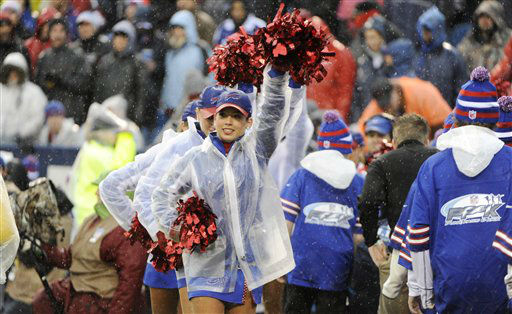 Buffalo Bills cheerleaders perform during the first half of an NFL football game between the Buffalo Bills and the Jacksonville Jaguars Sunday, Dec. 2, 2012 in Orchard Park, N.Y. &#40;AP Photo&#47;Gary Wiepert&#41; <span class=meta>(AP Photo&#47; Gary Wiepert)</span>