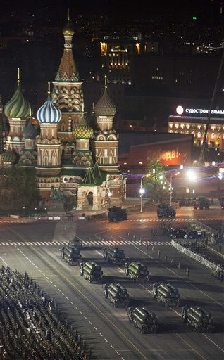 Russian military vehicles make their way through Red Square during a rehearsal for the Victory Day military parade which will take place at Moscow&#39;s Red Square on May 9 to celebrate 67 years of the victory in the WWII, in Moscow,  Russia, Thursday, May 3, 2012.&#40;AP Photo&#47;Alexander Zemlianichenko&#41; <span class=meta>(AP Photo&#47; Alexander Zemlianichenko)</span>