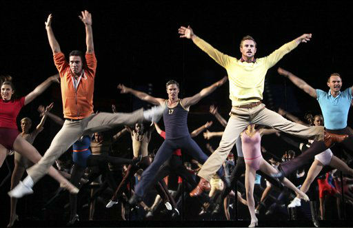 Performers dance during a preview of American Broadway musical &#34;A Chorus Line&#34; at the Marina Bay Sands Theatre on Friday May 4, 2012 in Singapore. &#40;AP Photo&#47;Wong Maye-E&#41; <span class=meta>(AP Photo&#47; Wong Maye-E)</span>
