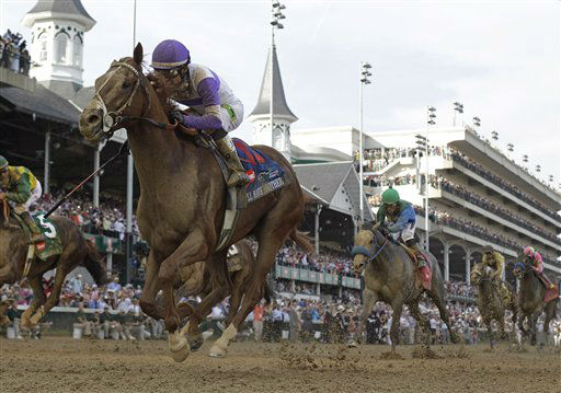 Jockey Mario Gutierrez rides I&#39;ll Have Another to victory in the 138th Kentucky Derby horse race at Churchill Downs Saturday, May 5, 2012, in Louisville, Ky. &#40;AP Photo&#47;David J. Phillip&#41; <span class=meta>(AP Photo&#47; David J. Phillip)</span>