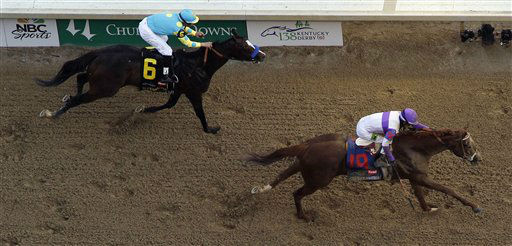 Jockey Mario Gutierrez rides I&#39;ll Have Another past Bodemeister ridden by Mike Smith &#40;6&#41; to victory in the 138th Kentucky Derby horse race at Churchill Downs Saturday, May 5, 2012, in Louisville, Ky. &#40;AP Photo&#47;Charlie Riedel&#41; <span class=meta>(AP Photo&#47; Charlie Riedel)</span>