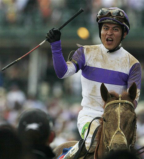 Jockey Mario Gutierrez reacts after riding I&#39;ll Have Another to victory in the 138th Kentucky Derby horse race at Churchill Downs Saturday, May 5, 2012, in Louisville, Ky. &#40;AP Photo&#47;Mark Humphrey&#41; <span class=meta>(AP Photo&#47; Mark Humphrey)</span>