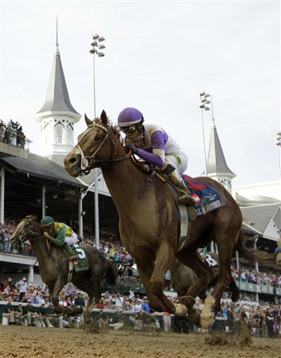 FILE - This May 5, 2012 file photo shows jockey Mario Gutierrez riding I&#39;ll Have Another to victory in the 138th Kentucky Derby horse race at Churchill Downs, in Louisville, Ky. I&#39;ll Have Another&#39;s bid for a Triple Crown ended with the shocking news that the colt was out of the Belmont Stakes due to a swollen left front tendon. According to Dennis O&#39;Neill, brother of trainer Doug O&#39;Neill, the horse galloped Friday morning, June 8, 2012,  and after a veterinary scan, the tendon seemed &#34;kind of tender.&#34;&#40;AP Photo&#47;David J. Phillip, File&#41; <span class=meta>(AP Photo&#47; David J. Phillip)</span>