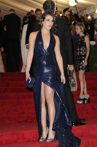 "<div class=""meta ""><span class=""caption-text "">Lea Michele arrives at the Metropolitan Museum of Art Costume Institute gala benefit, celebrating Elsa Schiaparelli and Miuccia Prada, Monday, May 7, 2012 in New York. (AP Photo/Evan Agostini) (AP Photo/ Evan Agostini)</span></div>"