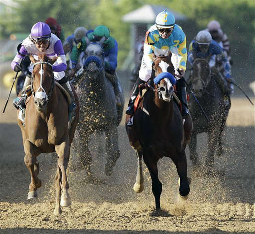 "<div class=""meta ""><span class=""caption-text "">FILE - This May 19, 2012 file photo shows I'll Have Another, left, ridden by Mario Gutierrez, beating Bodemeister, ridden by Mike Smith, to the finish line to win the 137th Preakness Stakes horse race at Pimlico Race Course, in Baltimore. I'll Have Another's bid for a Triple Crown ended with the shocking news that the colt was out of the Belmont Stakes due to a swollen left front tendon. According to Dennis O'Neill, brother of trainer Doug O'Neill, the horse galloped Friday morning, June 8, 2012,  and after a veterinary scan, the tendon seemed ""kind of tender."" (AP Photo/Patrick Semansky, File) (AP Photo/ Patrick Semansky)</span></div>"