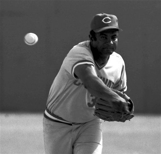 FILE-This March 19, 1979 file photo shows Cincinnati Reds pitcher Pedro Borbon. Borbon, who pitched 10 years for the Reds and helped the Big Red Machine win back-to-back World Series titles, has died of cancer. He was 65. His son, Pedro, tells The Associated Press that Borbon had been in hospice care and died at home in Pharr, Texas, on Monday June 4, 2012. He requested no memorial service. Borbon was a key member of the bullpen on Cincinnati's 1975-76 championship teams. He also pitched for the Angels, Giants and Cardinals. (AP Photo/File)