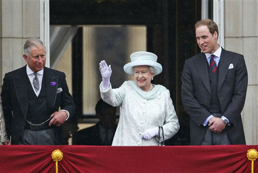 Britain&#39;s Queen Elizabeth II, center, accompanied by Prince Charles, left, and Prince William, appear on the balcony of Buckingham Palace in central London,  Tuesday, June 5, 2012, to conclude the four-day Diamond Jubilee celebrations to mark the 60th anniversary of the Queen&#39;s accession to the throne. &#40;AP Photo&#47;Lefteris Pitarakis&#41; <span class=meta>(AP Photo&#47; Lefteris Pitarakis)</span>