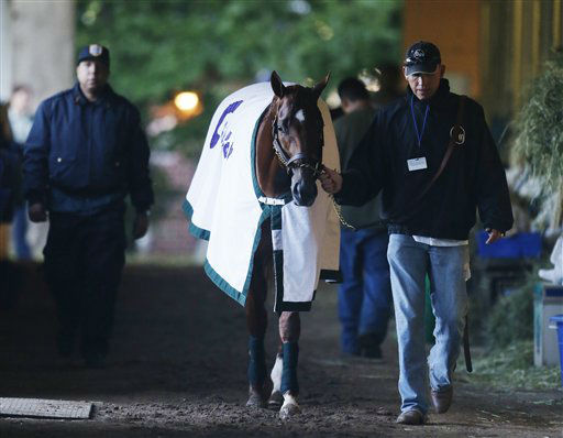 "<div class=""meta ""><span class=""caption-text "">I'll Have Another walks in the barn with groom Benjamin Perez after a morning workout at Belmont Park, Friday, June 8, 2012 in Elmont, N.Y. The Triple Crown hopeful runs Saturday in the Belmont Stakes. I'll Have Another's bid for a Triple Crown ended Friday morning with the shocking news that the chestnut colt was out of the Belmont Stakes because of a swollen left front tendon.(AP Photo/Mark Lennihan) (AP Photo/ Mark Lennihan)</span></div>"