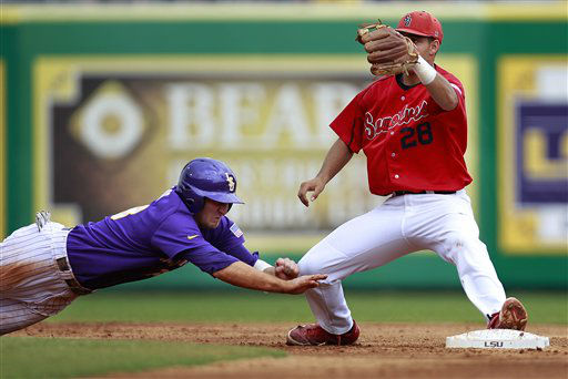 LSU&#39;s Alex Edward dives back onto second base to avoid a tag by Stony Brook infielder Cole Peragine &#40;28&#41; in the third inning of an NCAA college baseball tournament super regional game in Baton Rouge, La., Saturday, June 9, 2012. Stony Brook won 3-1. &#40;AP Photo&#47;Gerald Herbert&#41; <span class=meta>(AP Photo&#47; Gerald Herbert)</span>