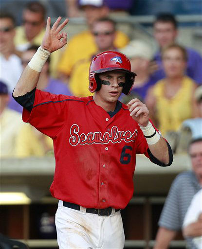 Stony Brook&#39;s Travis Jankowski gestures after scoring on an RBI single by William Carmona in the first inning of an NCAA college baseball tournament super regional game in Baton Rouge, La., Sunday, June 10, 2012. &#40;AP Photo&#47;Gerald Herbert&#41; <span class=meta>(AP Photo&#47; Gerald Herbert)</span>