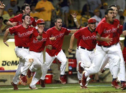 Stony Brook celebrates after defeating LSU 7-2 in Game 3 of an NCAA college baseball tournament super regional game in Baton Rouge, La., Sunday, June 10, 2012. Stony Brook advances to the College World Series. &#40;AP Photo&#47;Gerald Herbert&#41; <span class=meta>(AP Photo&#47; Gerald Herbert)</span>