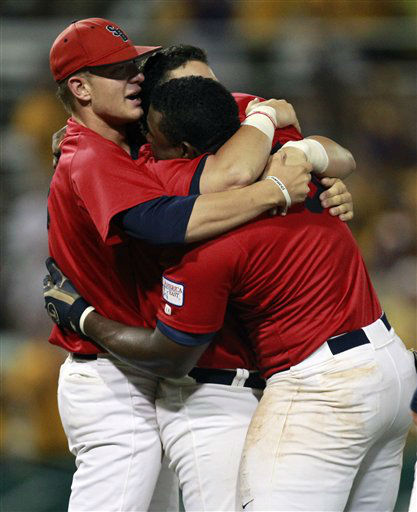 Stony Brook celebrates after defeating LSU 7-2 in game three of an NCAA college baseball tournament super regional game in Baton Rouge, La., Sunday, June 10, 2012. Stony Brook advances to the College World Series. &#40;AP Photo&#47;Gerald Herbert&#41; <span class=meta>(AP Photo&#47; Gerald Herbert)</span>