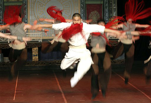 Red Beard Flying Warriors perform during a dress rehearsal of the &#34;Peking Opera&#34; at the Opera House in Sydney, Australia,  Thursday, June 14, 2012.  &#40;AP Photo&#47;Rob Griffith&#41; <span class=meta>(AP Photo&#47; Rob Griffith)</span>