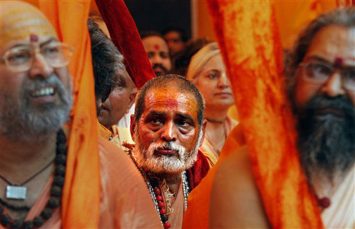 "<div class=""meta ""><span class=""caption-text "">Hindu holy men participate in a protest demanding the cleaning up of the River Ganges in New Delhi, India, Monday, June 18, 2012. The River, sacred to hundreds of millions of Hindus is also one of the most polluted rivers in the world. Scientists say massive amounts of human and chemical waste have devastated the river, which spills from a Himalayan glacier and cuts through India's plains before flowing into the Bay of Bengal.(AP Photo/Manish Swarup) (AP Photo/ Manish Swarup)</span></div>"