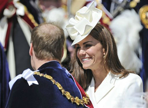 "<div class=""meta ""><span class=""caption-text "">Britain's Kate, Duchess of Cambridge and Prince William, Duke of Cambridge attend the annual Order of the Garter Service at St George's Chapel at Windsor Castle, Windsor,  England, Monday June 18, 2012.  The Most Noble Order of the Garter, founded in 1348, is the highest order of chivalry existing in England. Recipients of the honor are chosen because they have held public office, contributed to national life or served the sovereign personally. The appointment of Knights of the Garter is in the Queen's gift and is made without consulting ministers.  (AP Photo/Paul Hackett, Pool) (AP Photo/ PAUL HACKETT)</span></div>"