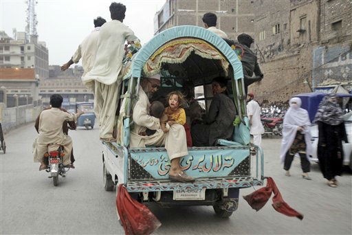 "<div class=""meta ""><span class=""caption-text "">Pakistani children, who were injured in an explosion in a Sunni shrine, are taken in a vehicle to a hospital, in Peshawar, Pakistan, Thursday, June 21, 2012. A Pakistani police officer said that two children have been killed by an explosion at a Sunni shrine in Peshawar as dozens of people gathered there. (AP Photo/Mohammad Sajjad) (AP Photo/ Mohammad Sajjad)</span></div>"
