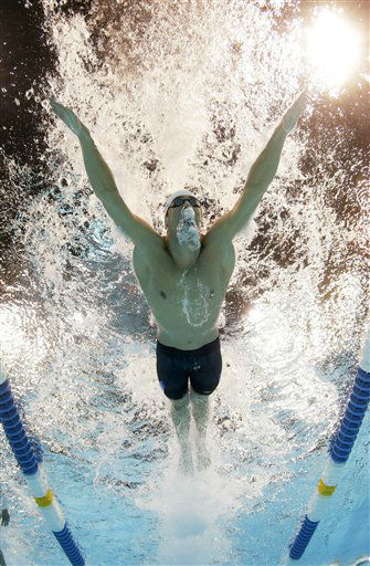 "<div class=""meta ""><span class=""caption-text "">Michael Phelps swims to victory in the men's 200-meter butterfly final at the U.S. Olympic swimming trials, Thursday, June 28, 2012, in Omaha, Neb. (AP Photo/Mark J. Terrill)</span></div>"